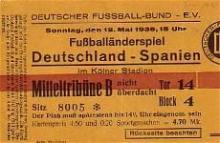 Deutschland - Spanien / Eintrittskarte