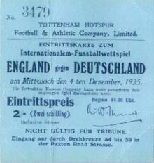 England - Deutschland / Eintrittskarte