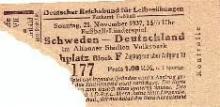 Deutschland - Schweden / Eintrittskarte