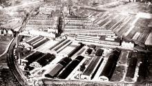 Luftansicht des Benz-Werkes in Mannheim
