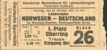 Deutschland - Norwegen / Eintrittskarte